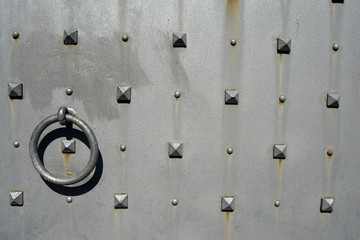 Metal Door with Nails and Rivets