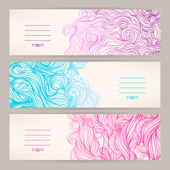 banners with wavy patterns