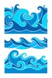 Vector seamless pattern with stylized waves