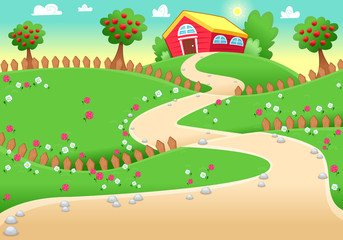 Funny landscape with farm.