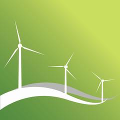 Three wind turbines and lines