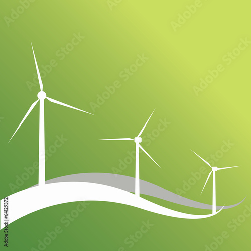 Three wind turbines and lines