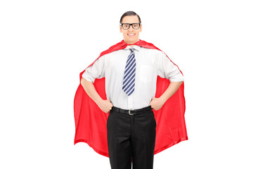 Man wearing a red cape