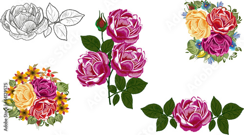 five rose flower decorations isolated on white
