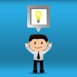 Businessman bright idea with speech bubble.EPS10