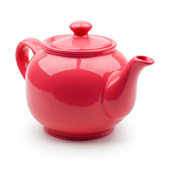 Red teapot closeup. Isolation on white