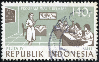 stamp dedicated to Children in classroom