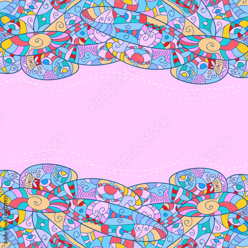 Childish frame with abstract patterns, pink
