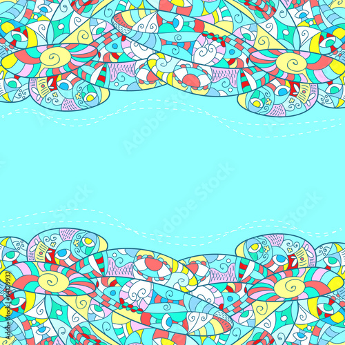 Childish frame with abstract patterns, blue