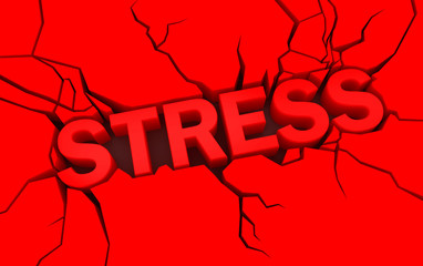 word stress in red color with cracks over