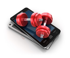 Mobile phone and Dumbbells , 3D concept
