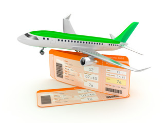 Airplane boarding pass tickets concept