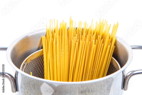 A bunch of dried spaghetti in a steel pot