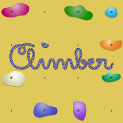 Word Climber written with rope on climbing wall