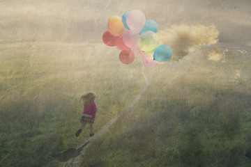 happy childhood, a child running