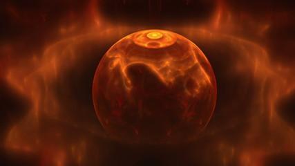 red fiery planet, energy sphere, seamless loop