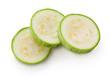 Zucchini. Sliced green squash on white background
