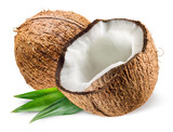 Coconut with leaf on white background poster