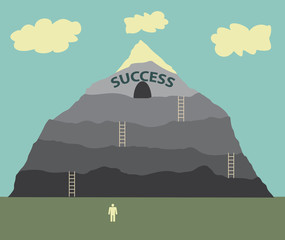 Illustration showing a climb to success.