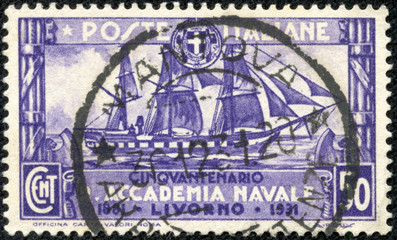 stamp printed in the Italy shows Training Ship Amerigo Vespucci