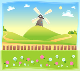 Funny landscape with windmill.