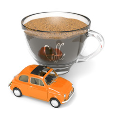 Cup of coffee with Italian vintage car