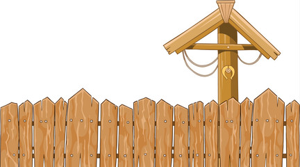 Wicker fence with a gate framing
