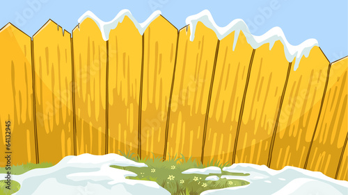 fence boards with snow