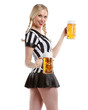 sexy woman in soccer style with beer in her hands
