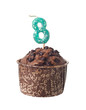 Chocolate muffin with birthday candle for eight year old