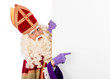 Leinwandbild Motiv Sinterklaas with placard