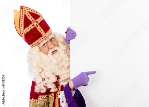 Leinwanddruck Bild Sinterklaas with placard