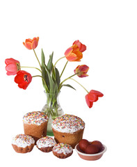 Easter cakes, eggs and tulips