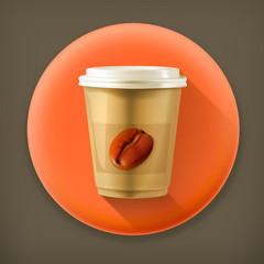 Coffee paper cup, long shadow vector icon
