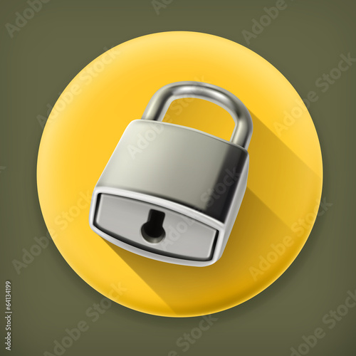 Metal lock, long shadow vector icon