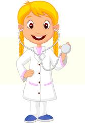 Little girl wearing nurse costume