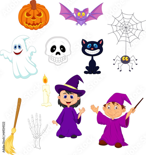 Halloween cartoon set