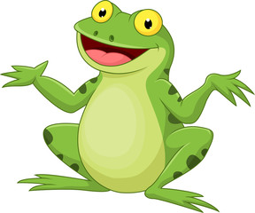 Funny cartoon green frog