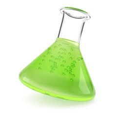 Chemistry flask with green liquid