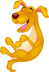 Cute cartoon dog laughing