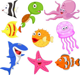 Cute sea life cartoon collection