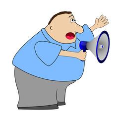 complete  elderly man yells in a megaphone