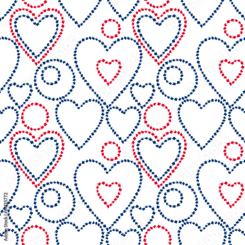 Blue and red grunge hearts and circles on white seamless pattern
