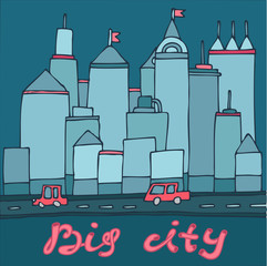 big city, skyscrapers cars cartoon