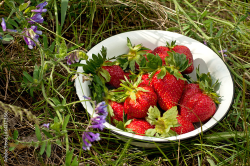 strawberry on white dish