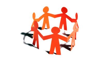 Paper team linked together partnership concept