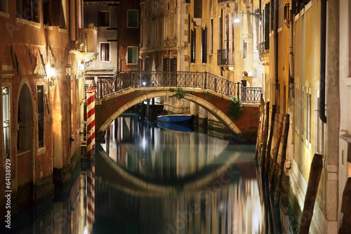 Venice bridge and canal at night
