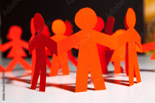 canvas print picture Paper team linked together partnership concept