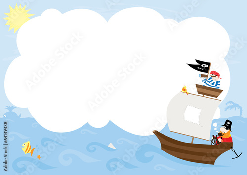 Pirate ship with blank space- vectors for kids