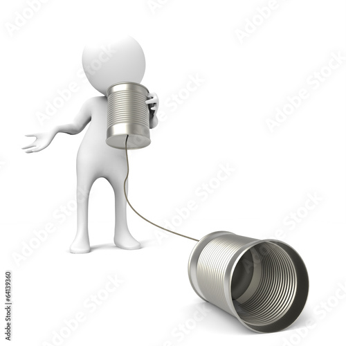 3d man with metal tin